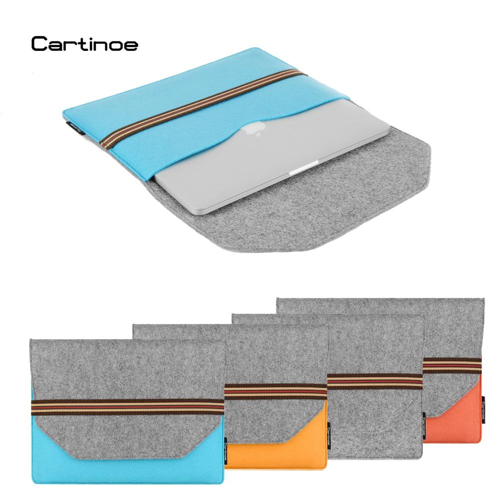 Cartinoe marca lã feltro bolsa para portátil 11 12 13 14 15 Polegada caso do portátil manga para macbook ar 11 pro 13 retina 15.4 notebook capa