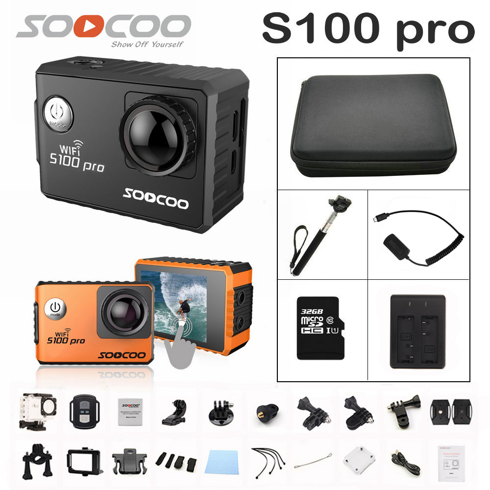 SOOCOO S100PRO Action Camera Ultra HD 4K Touch Screen WiFi GPS gyrometer Image Stabilization Go Waterproof pro Camera winait electronic image stabilization hdv z8 digital video camera with recording function touch screen