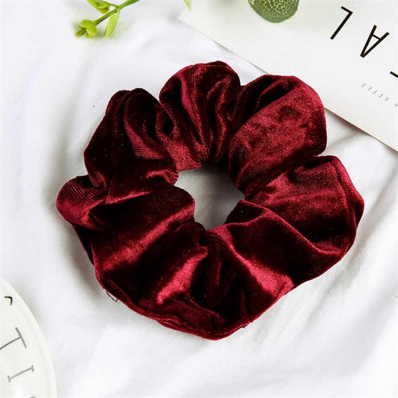 Frau Samt Scrunchies Solide Haar Ring Krawatten Für Mädchen Pferdeschwanz-halter Gummiband Elastische Haarband Haar Zubehör Headwear