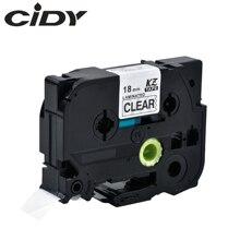 Cassette Cartridge Laminated Tze141-Label-Tape P-Touch Black Tze-141 CIDY Clear 18mm