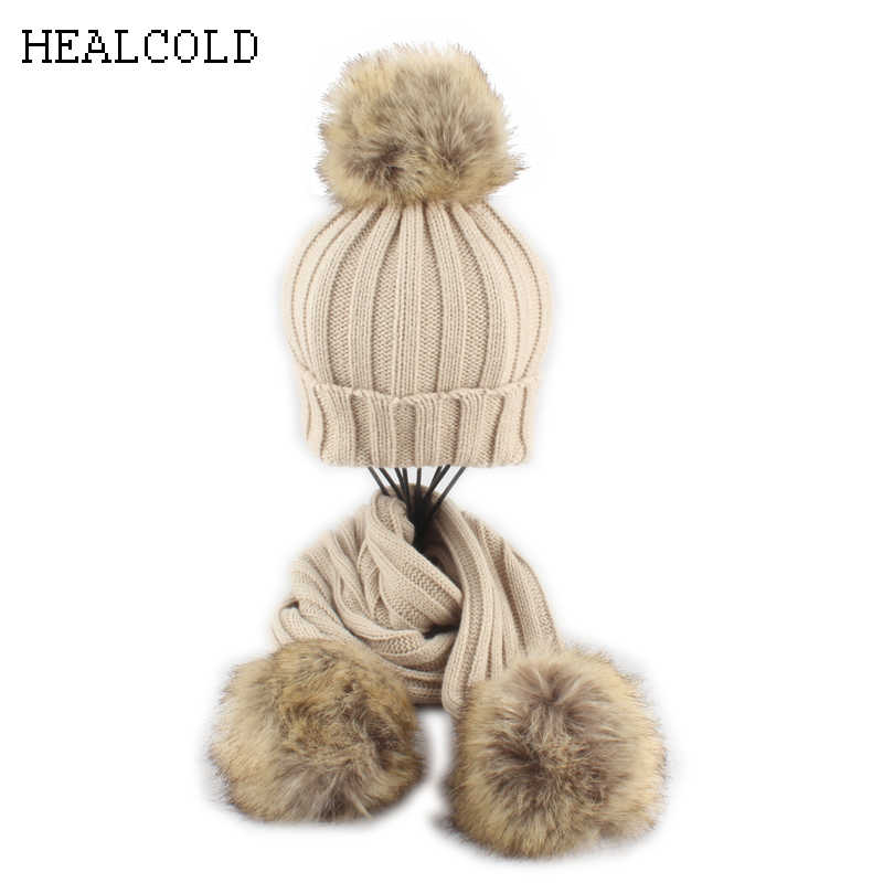 2 pieces Set Fur Pompoms Beanie Scarf Hat Baby Children Warm Knitted Winter Hats For kids