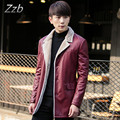 Korean and Japanese style Leather clothing male leather jacket winter medium-long plus velvet slim men's clothing outerwear