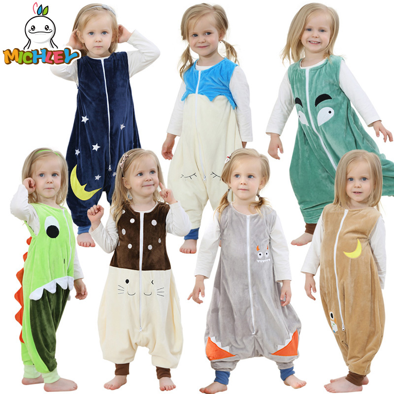 MICHLEY Kids Blanket Sleepers Baby Boys Jumpsuits Girl Cartoon Kigurumi Clothes Children Flannel Pajamas Baby Sleeping Bag SP003