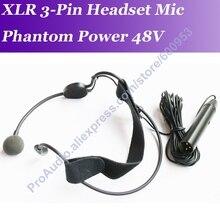 Professional MICWL ME3 Phantom 48 V ไมโครโฟนแบบ Headworn ไมโครโฟน XLR ชาย 3Pin 5 m