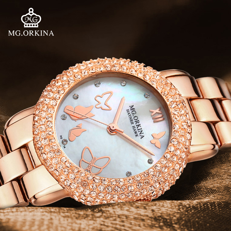 relogio feminino 2018 Luxury Rose Gold Rhinestone Quartz Watches Women Clock Girls Ladies Stainless Steel Shell Dial Wrist Watch essential hot relogio feminino clock womens elegant minimalism rhinestone crystal stainless steel wrist watch feb17