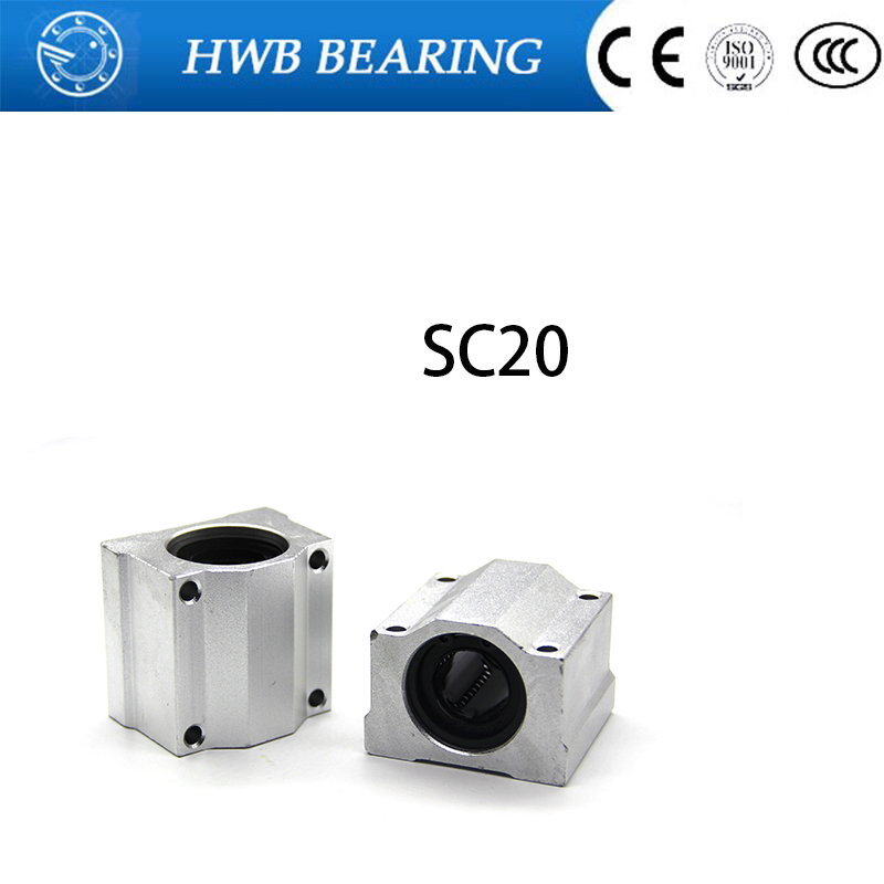 High quality 4 pcs SC20UU SCS20UU 20mm linear ball bearing slide unit 20mm linear bearing block for DIY CNC Router linear slide scs50uu linear ball bearing xyz table cnc router motion xyz slide block unit for 50mm linear shaft