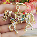 Multicolor Crystal Horse Rhinestone Metal Bag Pendant Key Holder Keyring Keychain For Car K181