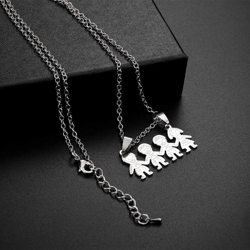TAFREE Kid Stainless Steel Necklace Mama Family Necklaces Jewelry Silver Color Boy Girl Pendant Necklace Women Gift  SS014