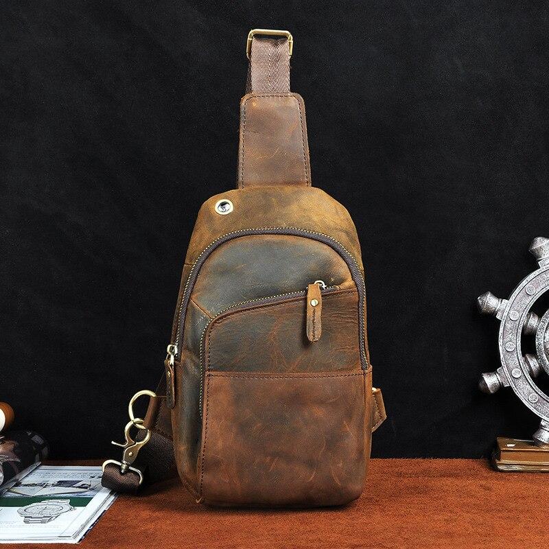 Men Genuine Leather Vintage Crossbody Chest Pack Messenger Shoulder Cowhide Bag
