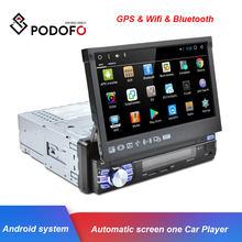 Podofo 1Din Android 7.1 samochodowy odtwarzacz multimedialny GPS Wifi Radio samochodowe automatycznie chowana ekran Audio Stereo FM Bluetooth dla Universal