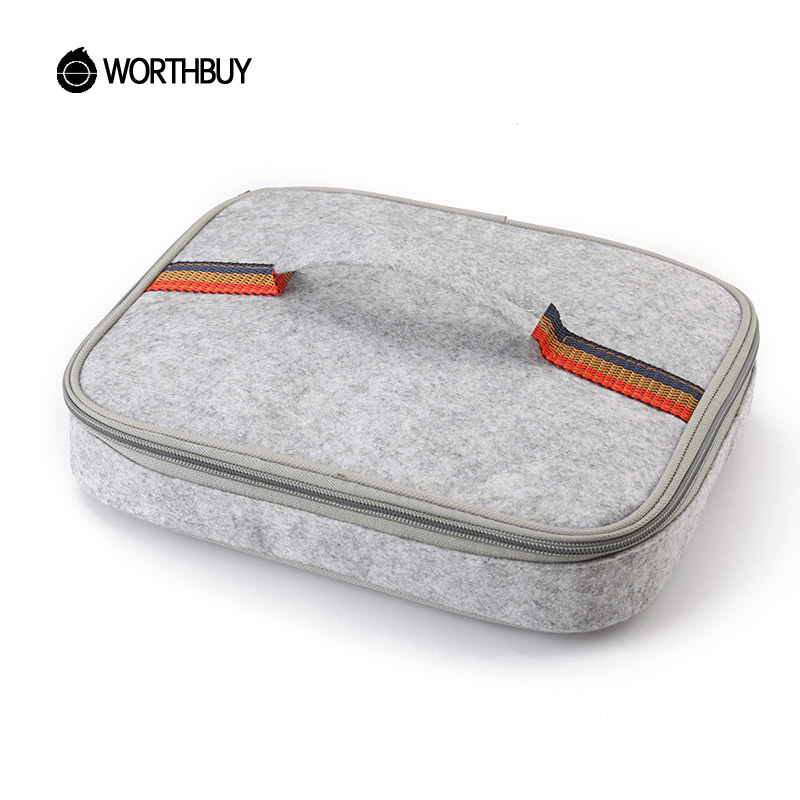 WORTHBUY Portable Thermal Lunch Bag Chinese Square Shape Felt Tinfoil Lunch Box Bags Tote Women Kids Camping Picnic Bag