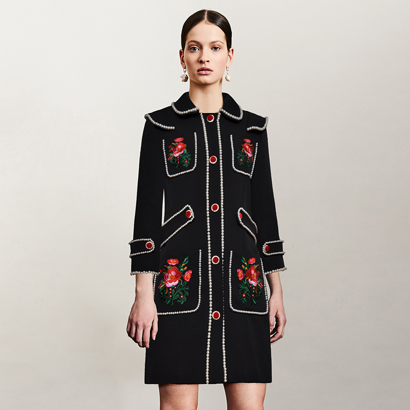 Runway Designer Vintage Long Sleeve Floral Embroidery   Trench   Coat For Women Autumn High Quality Medium Long Coat Women
