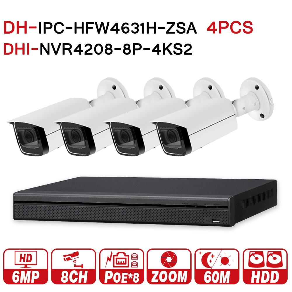 DH CCTV di Sicurezza del Sistema 6MP Zoom Macchina Fotografica del IP di IPC-HFW4631H-ZSA e 8POE 4 k NVR NVR4208-8P-4KS2 di Sorveglianza P2P Sistema di Sicurezza