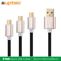 3 Pack 25cm 1m 3m Micro USB Cable Fast Charging Cord For Samsung Galaxy S7 S6