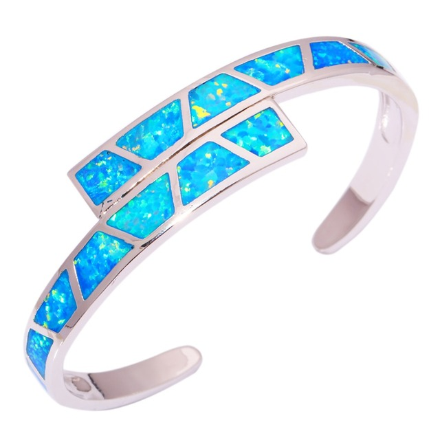 "Blue Fire Opal Silver Bracelet Wholesale Retail Hot Sell Fashion for Women Jewelry Bangle Bracelet 6 3/4"" OS451"