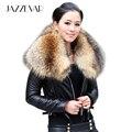 Grande de pele de guaxinim verdadeiro casaco de pele de carneiro 2016 de inverno de alta moda de rua das mulheres outerwear jaqueta de couro de luxo top quality