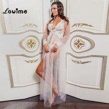 חלוק הלבן Applique חתונת חם סקסי לראות דרך חתונת צעיף הכלה קייפ 2018 כתונת לילה הלבשת כלה בהזמנה אישית חדשה זול
