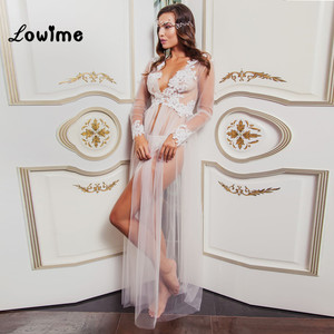 Image 1 - Hot Sexy White Applique Wedding Robe See Through Wedding Shawl Bridal Cape 2018 New Custom Made Bridal Sleepwear Nightgown Cheap