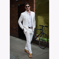 Latest Coat Pant Designs White Casual Men Suit 2017 Summer Beach Tuxedo Simple Custom Made 2 Piece Jacket mens suits for wedding