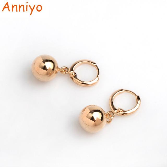 Anniyo 1CM Light Gold Color Bead Earrings for Women's/Girls African Round Ball Earrings Ethiopian Jewelry,Nigeria Gift #045104