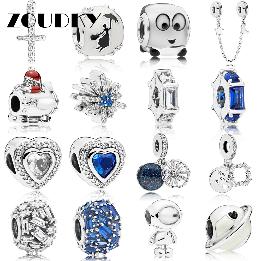 Beads Generous Zoudky New 100% 925 Sterling Silver Winter Series Space Christmas Astronaut Charm Planet Bead Elegance Dazzling Fireworks Charm