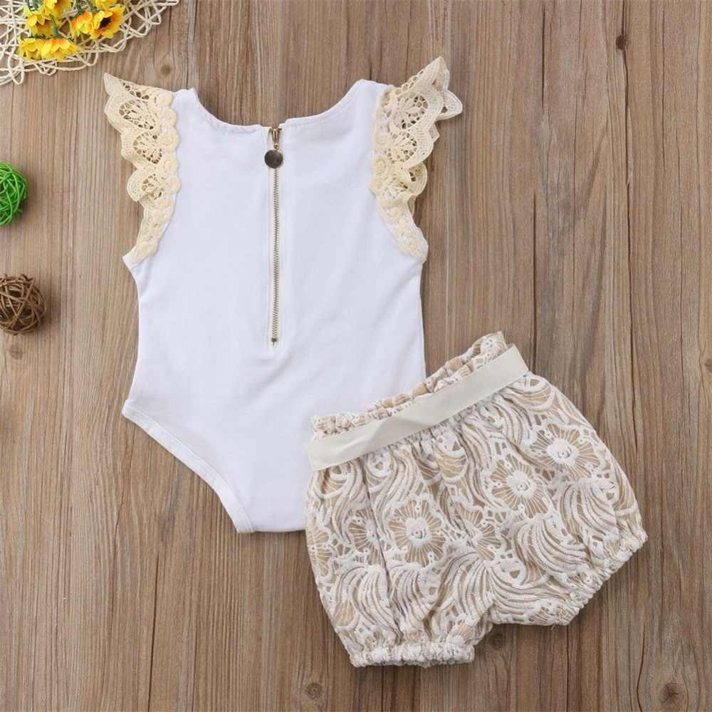 d8afac4d2ac ... Infant Baby Girls Clothing Sets Lace Sleeveless Zipped Tops+Floral Bow  Shorts 2pcs Vogue Bebe ...