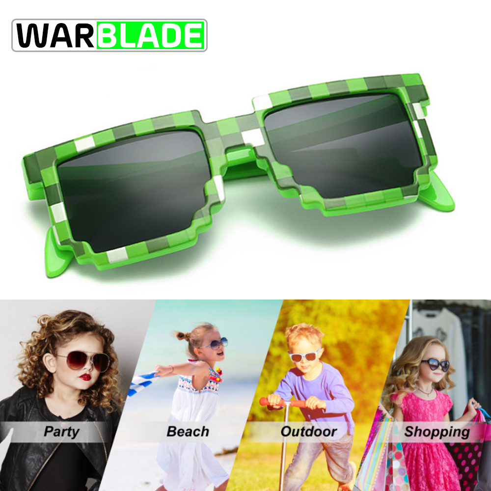 Warblade Sun-Glasses Cycling Minecraft Sports Unisex Mosaic Square Pixel Novelty Vintage