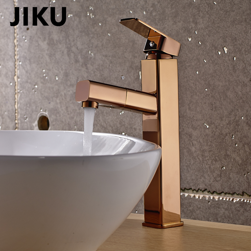 JIKU Luxury Rose Gold Bathroom Basin Faucet Single Handle Mixer Tap Deck Mounted Hot And Cold Tap Sink Brass FaucetJIKU Luxury Rose Gold Bathroom Basin Faucet Single Handle Mixer Tap Deck Mounted Hot And Cold Tap Sink Brass Faucet