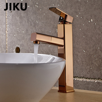 JIKU Luxury Rose Gold Bathroom Basin Faucet Single Handle Mixer Tap Deck Mounted Hot And Cold Tap Sink Brass Faucet