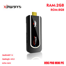 Xinways mejor H96pro Mini PC 2G RAM 8G Apoyo ROM Amlogic S912 Octa core android 7.1 OS 4 K H265. HDMI 2.0 android TV dongle