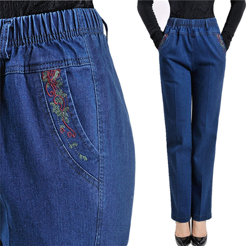 Plus size High waist   jeans   women Spring autumn Elastic waist Denim trousers female winter Flocking Keep warm casual pants A2653