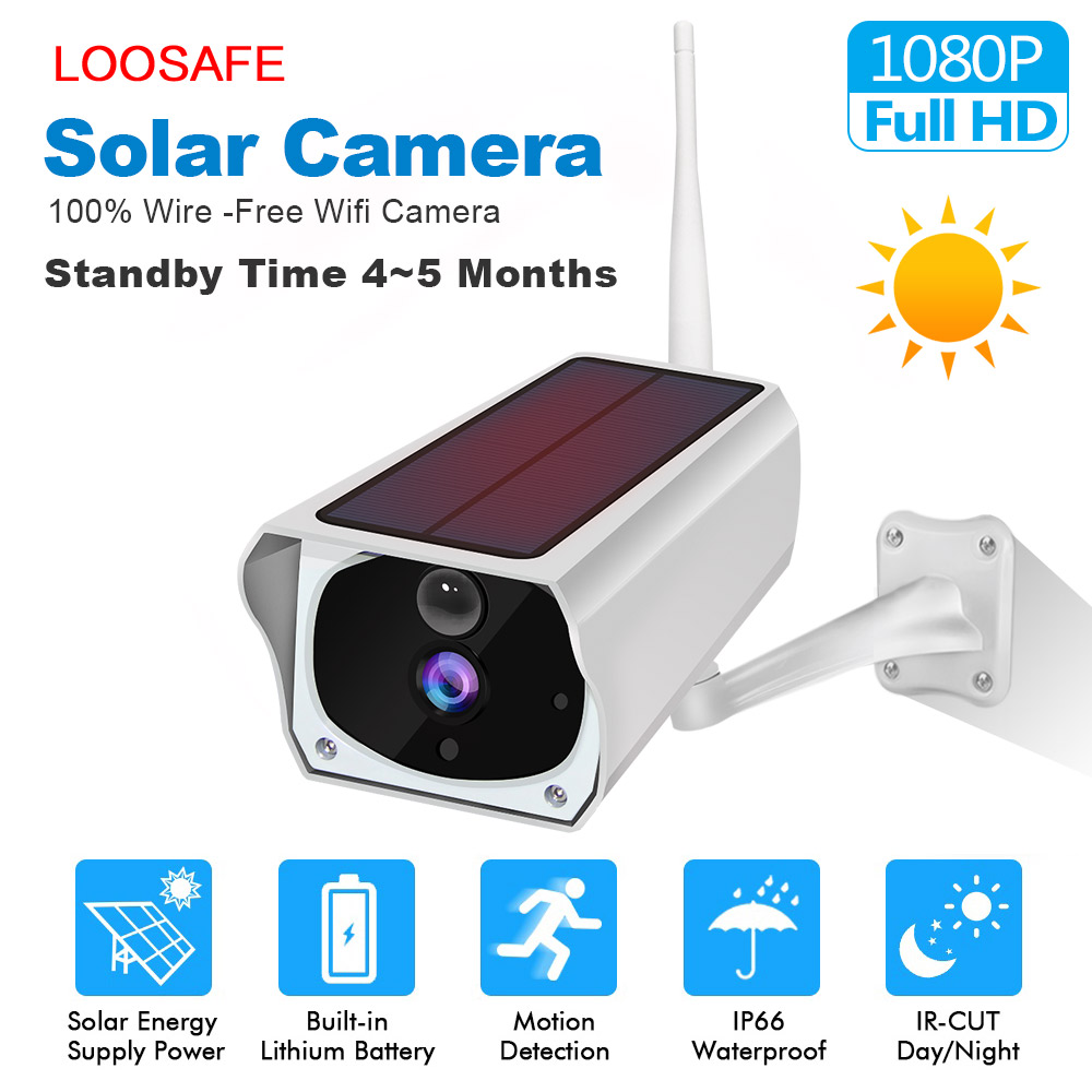LOOSAFE HD 1080P Bullet Solar Security Camera for Outdoor Indoor Security with Solar Panel Power Charging