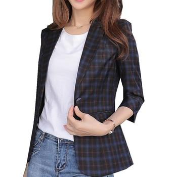 Fmasuth Summer Plaid Blazer Casual Women 34 Sleeve Single Button Slim Waist Mujer Femme Elegant Office Bleizer HX-1807 jeans con blazer mujer