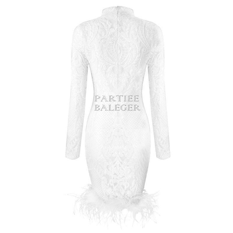 Midi Soirée Col Paillettes Robe Nouvelle Partie Embelli Blanc Célébrité Haut Longues Arrivée Plume Élégante Sexy Manches Chic 2019 De xaApqRx
