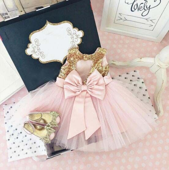 ФОТО 2016 pink ball gown tutu princess Pageant 1 year Birthday Dress for Girls Baby with Golden bow baptism gown christening dress