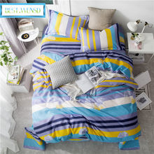 BEST.WENSD No Fade Simple stripe sheet.pillowcase/duvet covet sets 6 size bedclothes korean bedroom full size bed set bedlinen(China)
