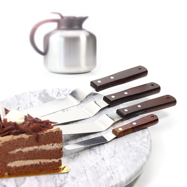 Cake Spatula with Wooden Handle 4 Pieces Set