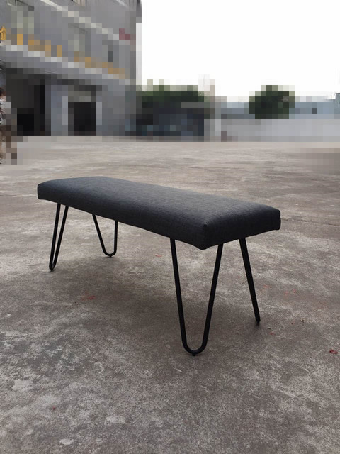 "HOT SALE    46.9"" long contemporary modern metal velvet bench stool ottoman living room chair made in China"