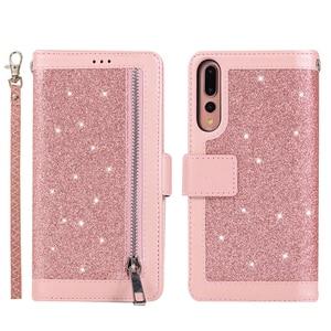 Image 2 - Huawei P40 P30 Pro P20 lite Case Flip Cover Glitter Zipper Wallet Phone Case Huawei Mate 30 20 lite 10 Pro Magnetic Leather Case