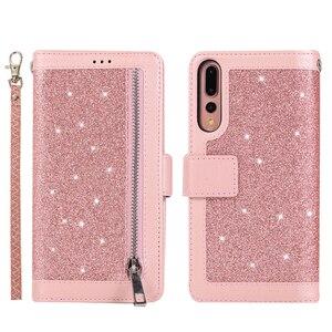 Image 2 - Per Huawei P40 P30 Pro P20 lite custodia Flip Glitter cerniera portafoglio custodia per telefono Huawei Mate 30 20 lite 10 Pro custodia in pelle magnetica