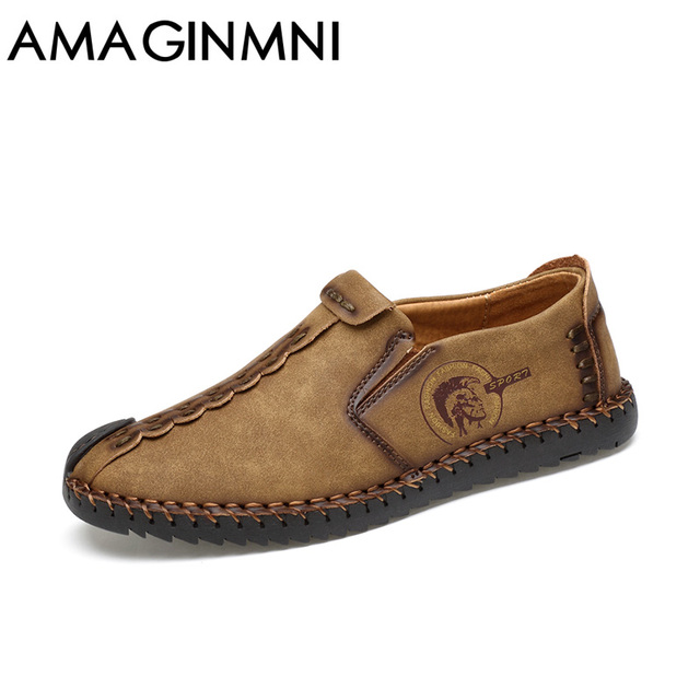 AMAGINMNI 2017 New Comfortable Casual Shoes Loafers Men Shoes Quality Split Leather Shoes Men Flats Hot Sale Moccasins Shoes 3