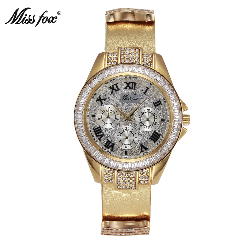 Miss Fox Ladies Watches Top Brand Luxury C Stainless Steel M* Watch Gold Leather Waterproof 39mm Crystal Diamond For Women Clock miss fox gold rose watch women rhinestone watch luxury brand crystal golden clock woman watches xfcs waterproof shockproof hours
