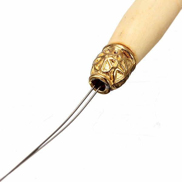 Легко Применение волос крюк снимателя нитевдевателя Micro Кольца Бусы петля деревянная ручка для реального Перья для волос 1 шт. распродажа