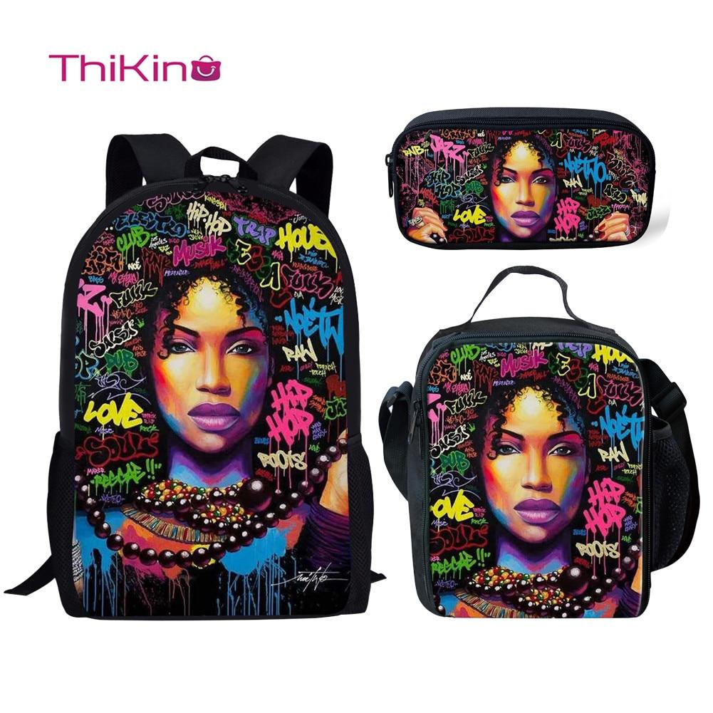 Thikin Teenagers African American Black Girl School Bag Set for Boys Girls 3D  Primary Travel Backpack Kids Book Bags