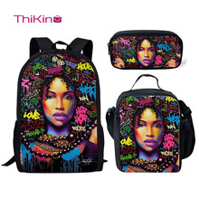 Thikin Teenagers African American Black Girl School Bag Set for Boys Girls 3D  Teenagers Primary Travel Backpack Kids Book Bags недорого