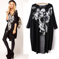 Fashion Women's Skull Dovetail T-shirt Mesh Back Cross Stitching Long Section Woman Clothes Large yard with design sense