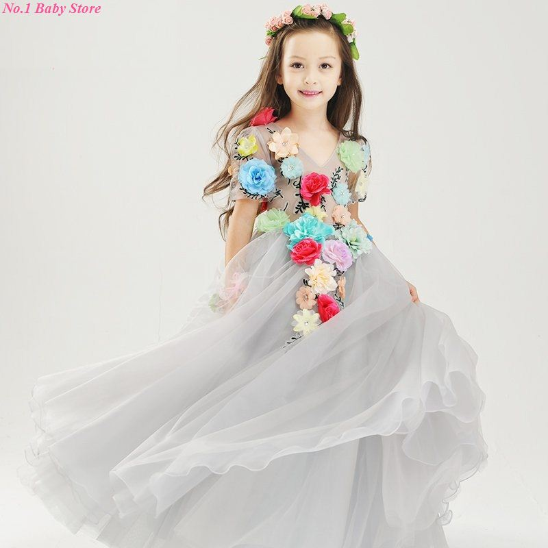 Top Qulaity Pretty Flower Girls Dresses  Floor-Length Head Flower Baby Girls  Dress for Wedding and Party Hand made embroideryTop Qulaity Pretty Flower Girls Dresses  Floor-Length Head Flower Baby Girls  Dress for Wedding and Party Hand made embroidery