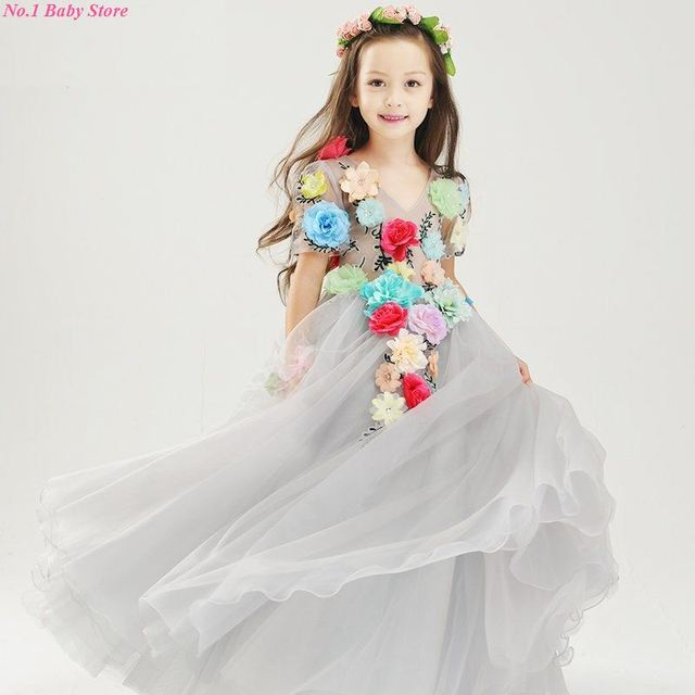 bfc83efa05c9 Top Qulaity Pretty Flower Girls Dresses Floor-Length Head Flower Baby Girls  Dress for Wedding and Party Hand made embroidery
