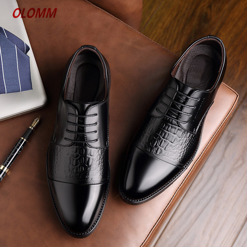 Mens Brand Leather Formal Shoes Lace Up Dress Shoes Oxfords Fashion Retro Shoes Elegant Work Footwear Zapatos De Hombre De Vest Men's Shoes