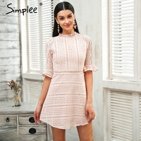 Simplee Elegant Pink Hollow Out Lace Dress Women Half Sleeve Chic Midi White Dress Spring 2018